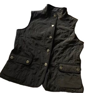 Talbots Brown quilted vest with gold buttons